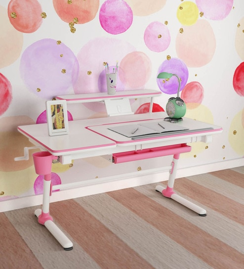 Adjustable Study Table with Tiltable Reading Desk in Pink Color By Kidomate  (For Kids & Adults)