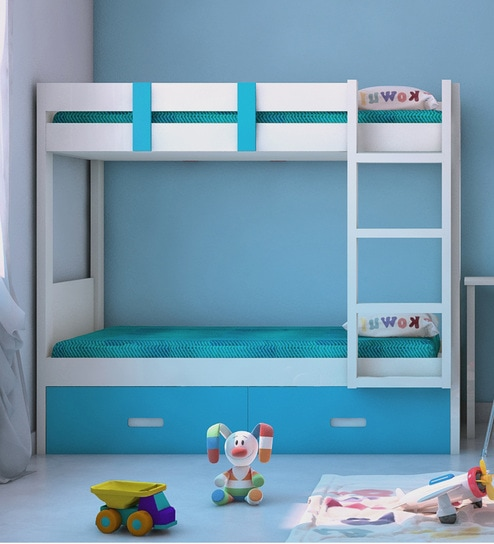 Adonica Bunkbed With Storage In Azure Blue Finish By Adona Online Bunk Beds Kids Furniture Pepperfry Product