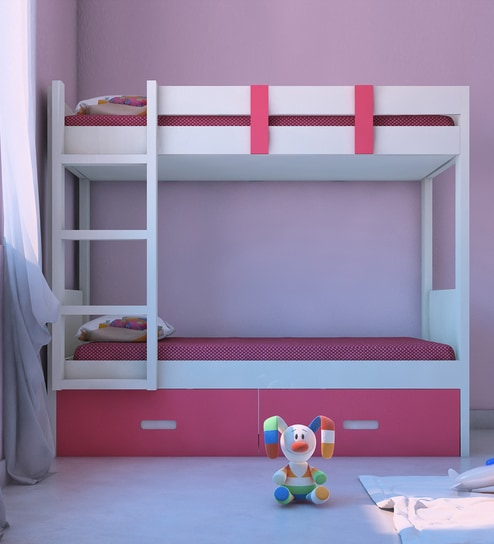 Adonica Bunkbed With Storage In Barbie Pink Finish By Adona Online Bunk Beds Kids Furniture Pepperfry Product