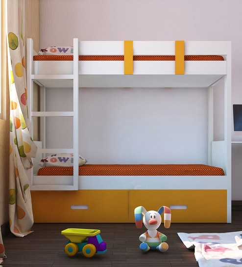 Adonica Bunkbed With Storage In Mango Yellow Finish By Adona Online Bunk Beds Kids Furniture Pepperfry Product