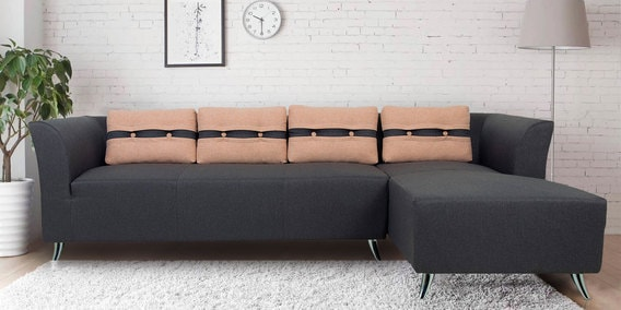 Iowa Lhs Three Seater Sofa With Lounger In Steel Grey Colour By Furnitech