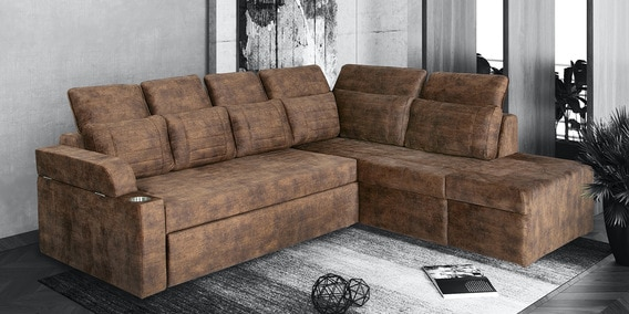 Adonia Lhs Sofa Bed In Brown, Brown Cloth Sofa Bed