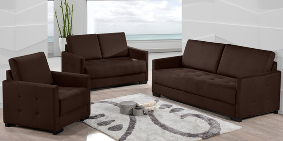 Adria 3 2 1 Sofa Set In Brown Colour By Casacraft