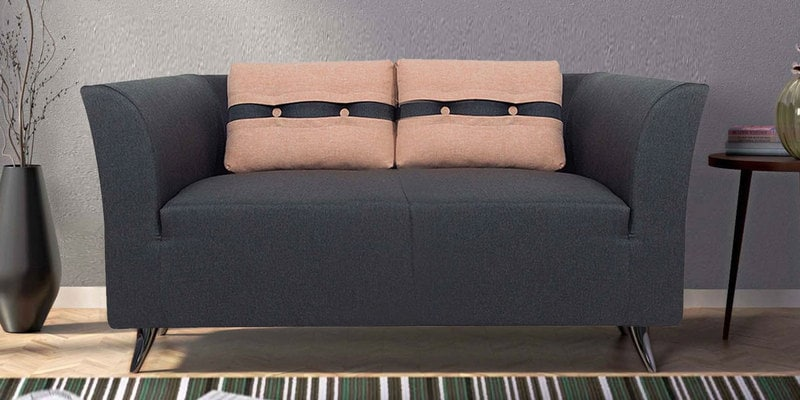 Adelia Two Seater Sofa in Steel Grey Colour by CasaCraft