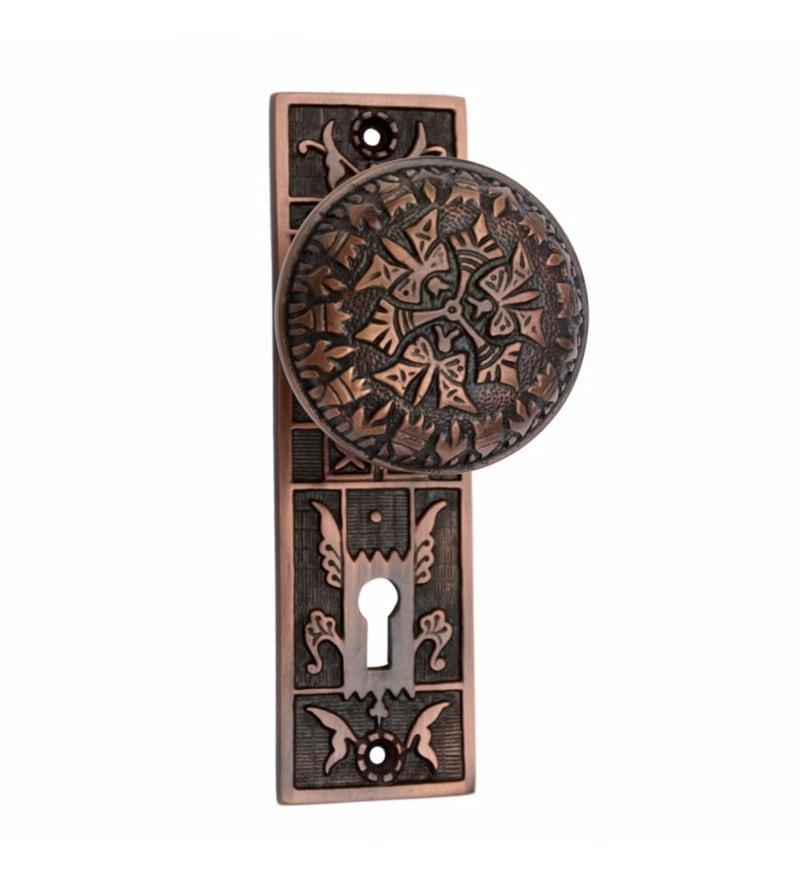 Adonai Hardware Dabbasheth Brass 2.4 x 2.4 Inch Door Knob with Plate