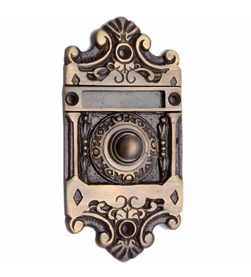 Adonai Hardware Nehushtan Brass 4.9 x 2.4 x 0.7 Inch Bell Push