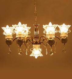 Contemporary Golden Finished Aluminium 7 Lamp Shades Chandelier By  Aesthetic Home Solutions