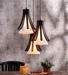 Aesthetics Home Solution Brown And White Glass And Wood Hanging Light