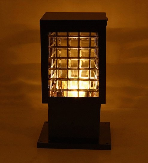 Contemporary Brown Glass Rectangular Cube Gate Light By Aesthetic Home Solutions
