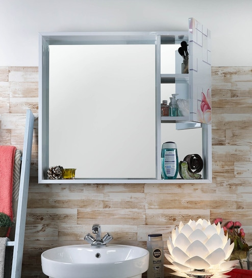White Aluminium 315 X 5 275 Inch Mirror Bathroom Cabinet By Aesthetic Home Solutions