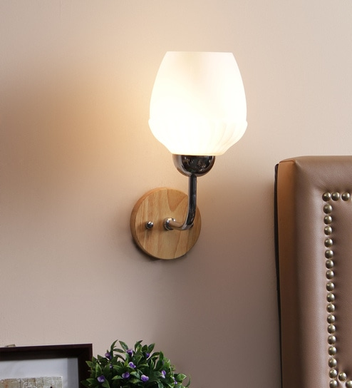 White Glass Wall Mounted Wall Light by Aesthetic Home Solutions