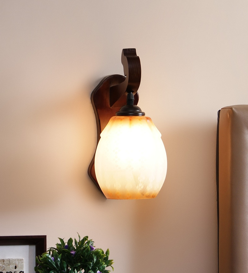 Brown and White Glass Wall Mounted Wall Light by Aesthetics Home Solution