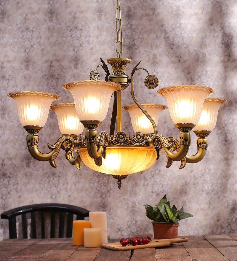 Buy white brown glass metal 10 shade chandelier by aesthetics white and gold glass chandelier by aesthetic home solutions mozeypictures Choice Image