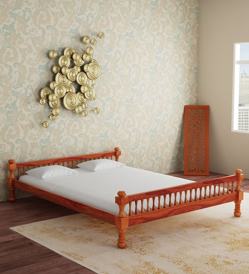 Buy Agastya Solid Wood Queen Size Bed in Honey Oak Finish by ...