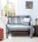 Ubu Bench in Blue Distress Finish