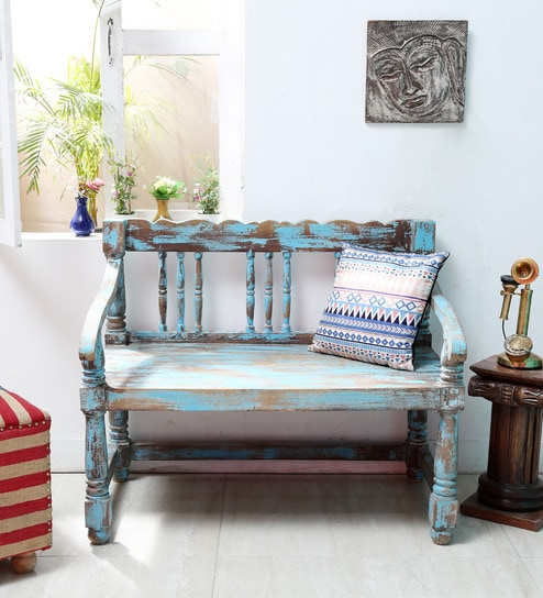 buy ubu solid wood bench in blue distress finish by bohemiana online