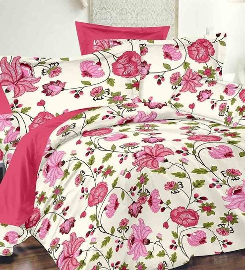 buy ahmedabad cotton pink cotton floral double bed sheet with