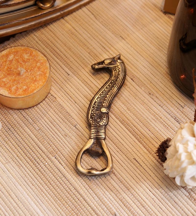 Antique Brown Brass Seahorse Bottle Opener Showpiece by Handecor