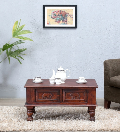 Airavana Solid Wood Coffee Table In Honey Oak Finish By Mudramark