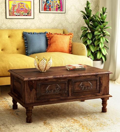 Teak Coffee Table India: Buy Airavana Solid Wood Coffee Table In Provincial Teak