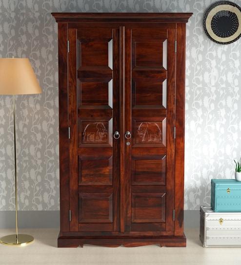 Airavana Solid Wood 2 Door Wardrobe In Honey Oak Finish By Mudramark