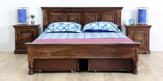 Airavana Solidwood Queen Bed With Drawer Storage In Provincial Teak Finish