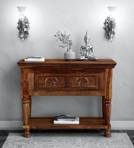Airavana Solid Wood Console Table In Provincial Teak Finish Mudramark By Pepperfry Traditional Tables Furniture - Solid Oak Console Table With Storage