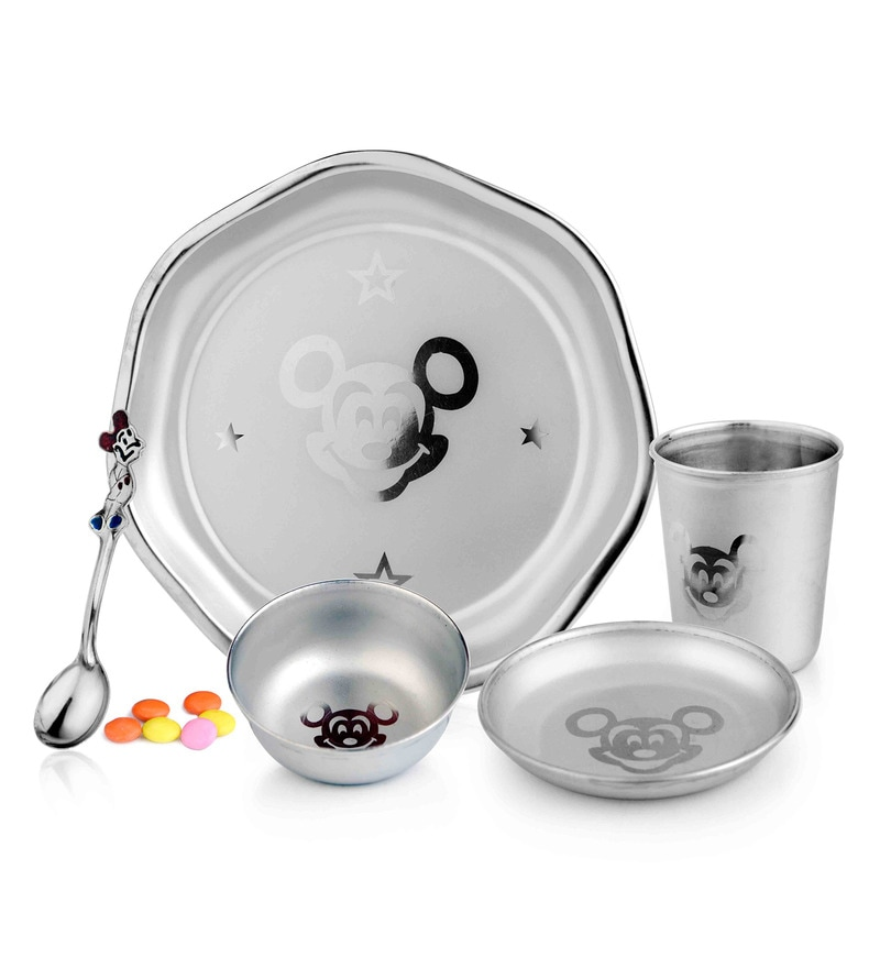 Silver Stainless Steel 5-Piece Feeder Set for Kids by Airan