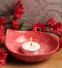 Red Stone Festive Jumbo Tea Light Holder by Aion