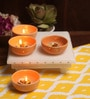 Aion Orange Ceramic Round Tea Light Holder - Set of 4