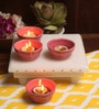 Aion Pink Ceramic Conical Dip Glazed Tea Light Holder - Set of 4