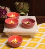 Pink Ceramic Round Tea Light Holder - Set of 4 by Aion