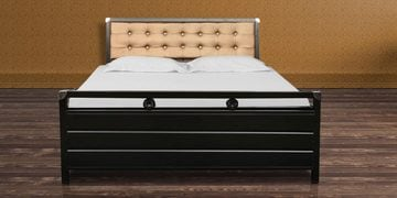 Ajanta Metal Queen Bed with Hydraulic Storage in Black Colour by Diamond Interiors at pepperfry