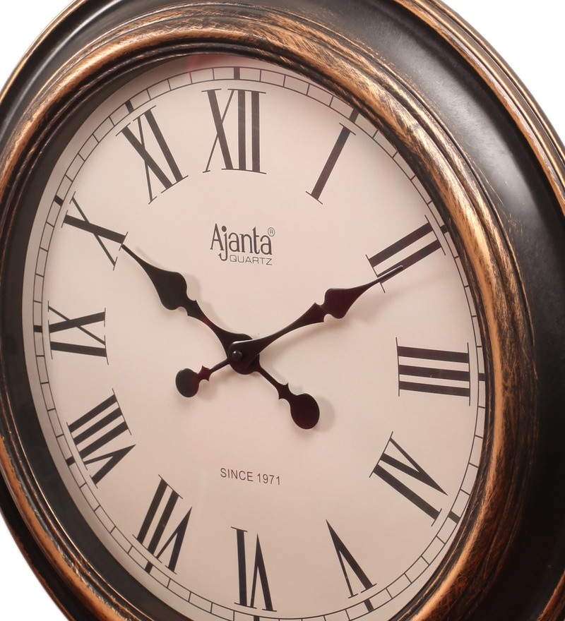 Buy Ajanta Antique Black Glass And Wood Wall Clock Online