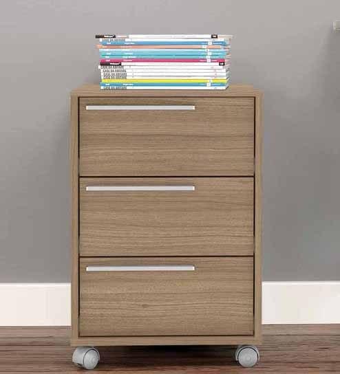 Buy Akari Storage Unit With Three Drawers Swivel Castors In Nut