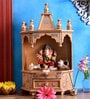 Shrinath Gold MDF & Mango Wood Penta Table Top & Wall Temple