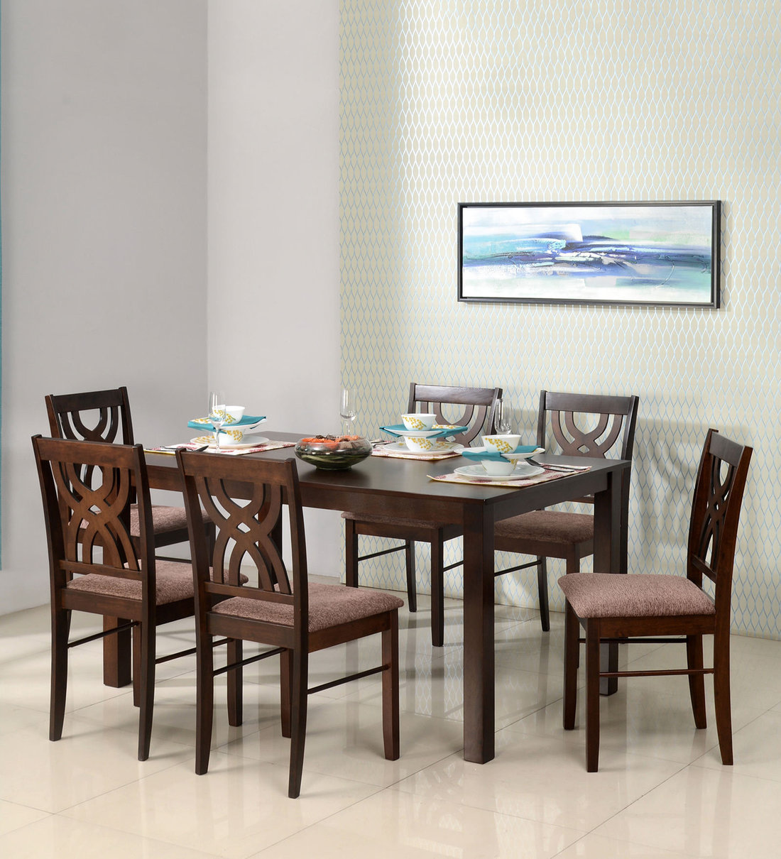 Buy Alice Solid Wood 6 Seater Dining Set In Antique Cherry Colour By Home Online Transitional 6 Seater Dining Sets Dining Furniture Pepperfry Product