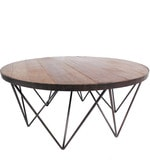 Albert Round Coffee Table in Black & Brown Colour
