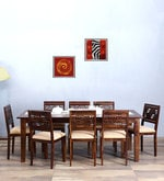 Alder Eight Seater Cushioned Dining Set in Provincial Teak Finish