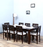 Alder Eight Seater Cushioned Dining Set in Warm Chestnut Finish