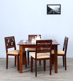 Alder Four Seater Cushioned Dining Set in Honey Oak  Finish