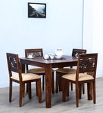 Alder Four Seater Cushioned Dining Set  in Provincial Teak Finish