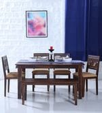 Alder Six Seater Cushioned Dining Set with Bench in Provincial Teak Finish