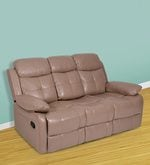 Alex Three Seater Manual Recliner Sofa in Camel Colour