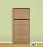 Alvise Three Door Shoe Cabinet in Classic Walnut Finish