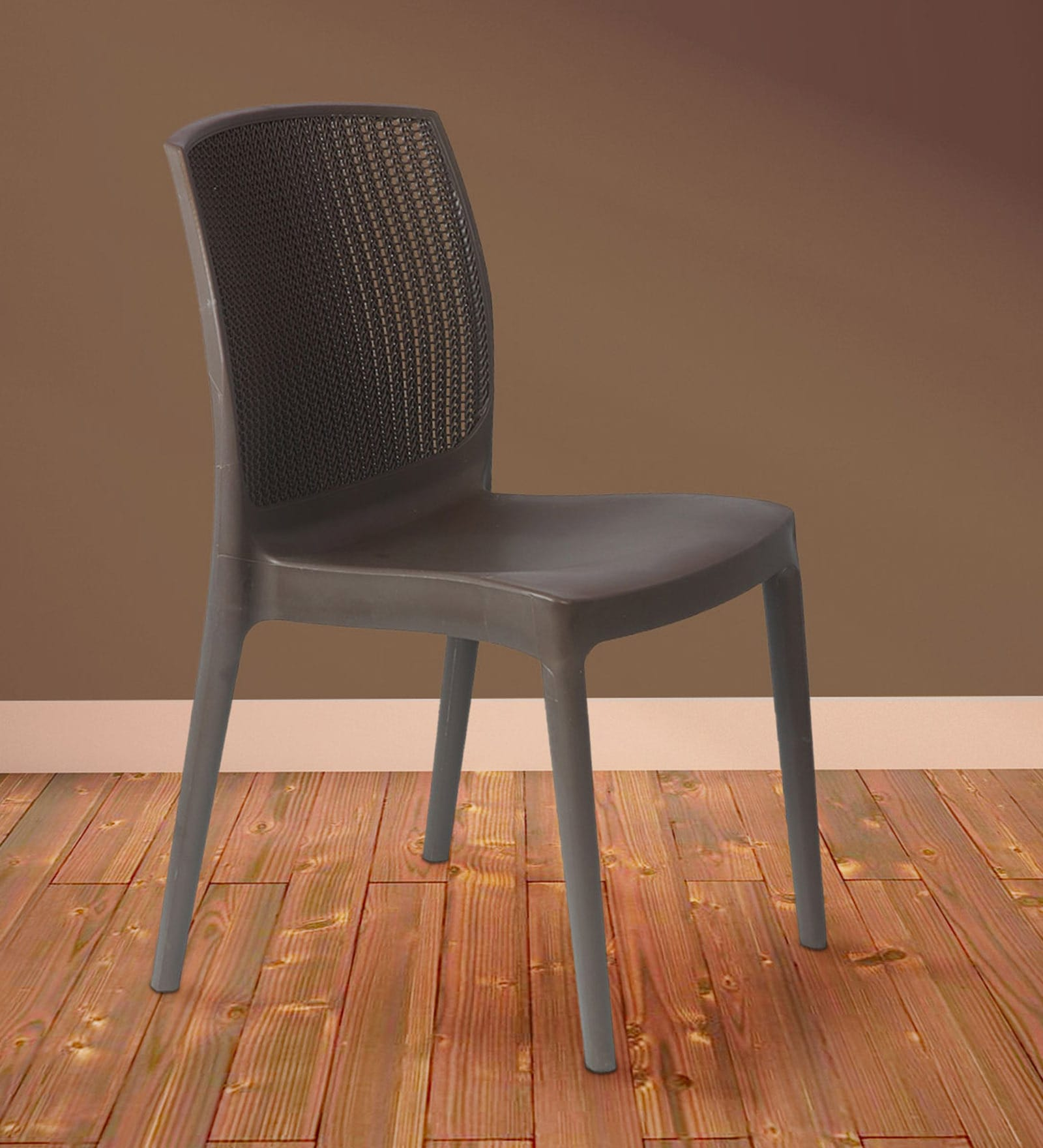 Alvira Jali design Cafe Chair in Brown Colour by Furniease