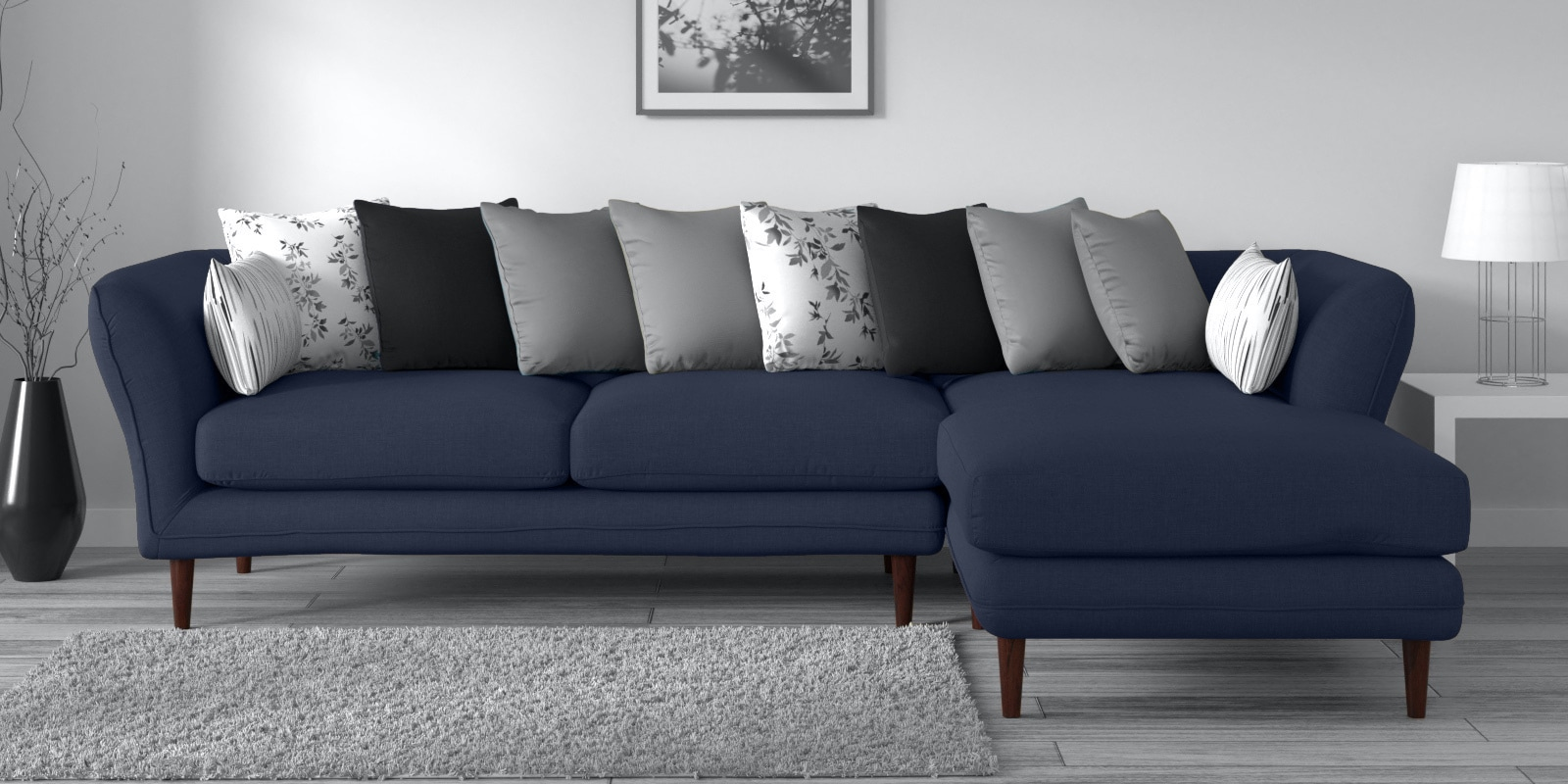 Buy Aleandro 3 Seater Lhs Sectional Sofa In Navy Blue Colour By Casacraft Online Contemporary Lhs Sectional Sofas Sectional Sofas Furniture Pepperfry Product