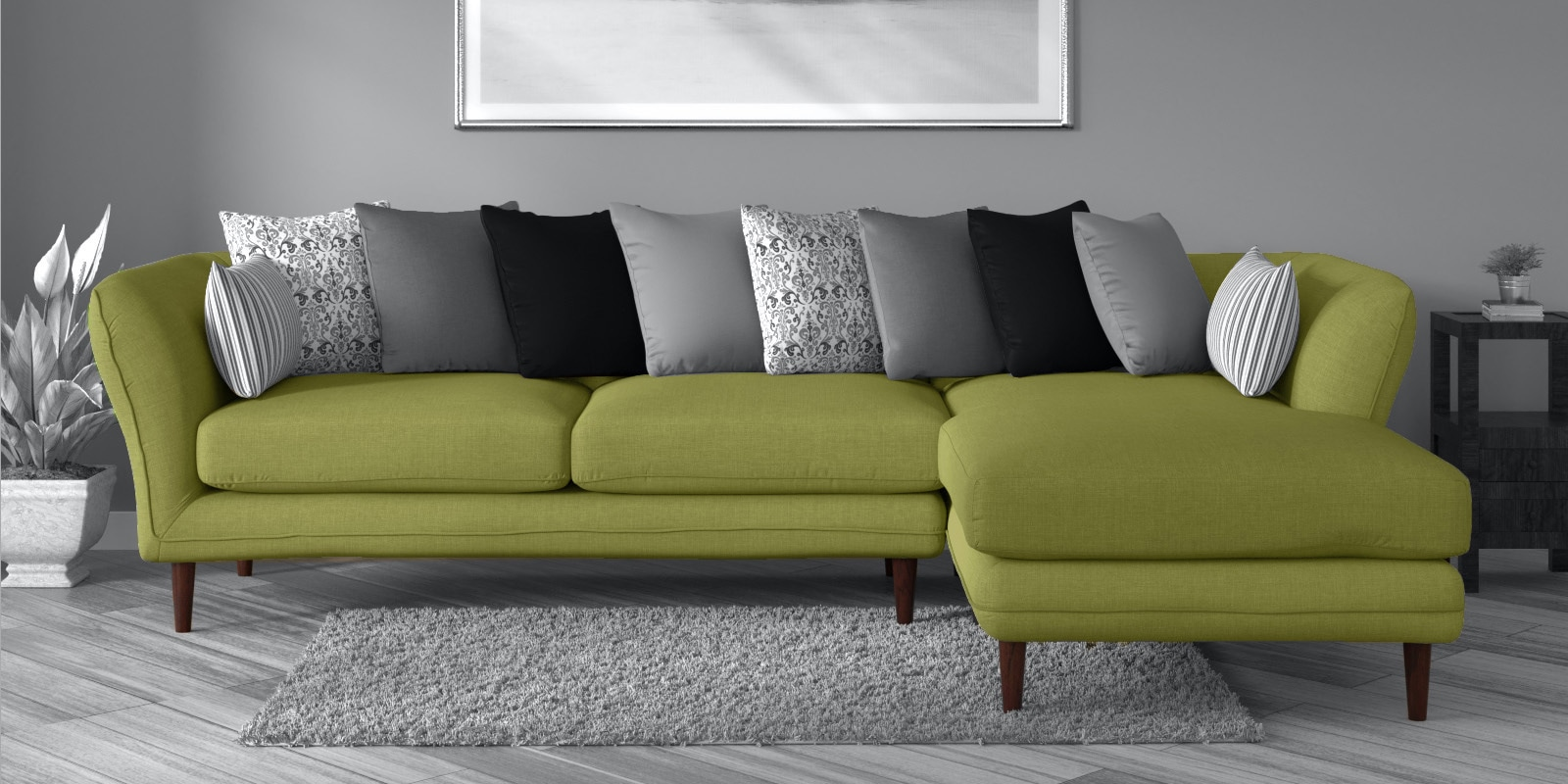 Picture of: Buy Aleandro 3 Seater Lhs Sectional Sofa In Olive Green Colour By Casacraft Online Contemporary Lhs Sectional Sofas Sectional Sofas Furniture Pepperfry Product