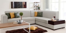 Alden LHS Sectional Sofa in Light Beige Leatherette