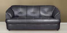 Alto Three Seater Leatherette Sofa in Black Colour